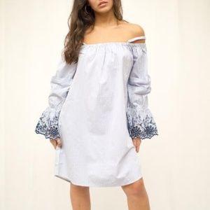 Off Shoulder Embroidered Long Sleeve Detail Dress